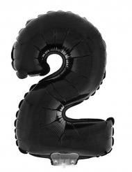 Zwarte aluminiumballon cijfer 2