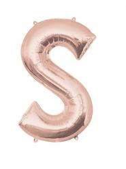 Rosé gouden letter S aluminium ballon