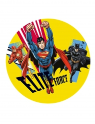 Taartdecoratie Justice League™ suikerschijf