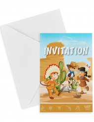 6 verjaardagsuitnodigingen indiaan en cowboy