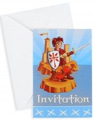 Verjaardagsuitnodigingen ridder met enveloppen