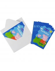 6 uitnodigingen en enveloppen Peppa Pig™
