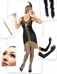 Zwart en goudkleurig charleston kostuum pack voor vrouwen