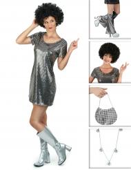 Zilverkleurig disco kostuum pack voor vrouwen