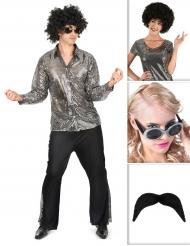 Zilverkleurig disco kostuum pack voor mannen