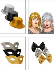 Zwart, zilverkleurig en goudkleurig feestartikelen pack