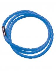 Fluo blauwe gevlochten armband voor volwassenen