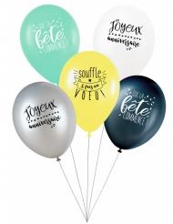 5 latex ballonnen Souffle & Fais un voeu