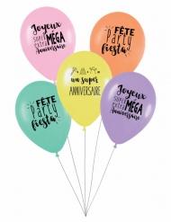 5 verjaardagsballonnen Super Anniversaire