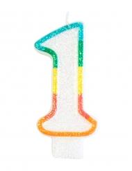 Cijfer 1 kleurrijke verjaardagskaars