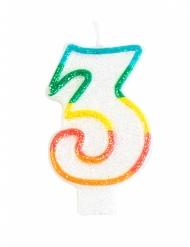 Verjaardagskaars met cijfer 3