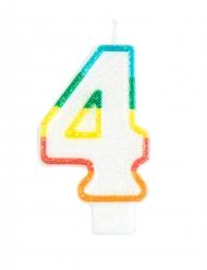 Cijfer 4 gekleurde verjaardagskaars