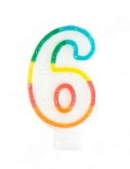 Verjaardagskaars met cijfer 6