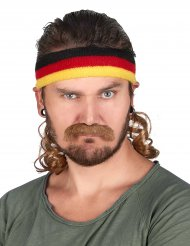 Zwarte, rode en gele mullet hoofdband met snor voor volwassenen