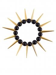 Zwarte en goudkleurige punk armband voor volwassenen