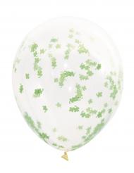 5 doorzichtige latex ballonnen met klaver confetti 40 cm