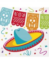 16 papieren Mexicaanse hoeden servetten