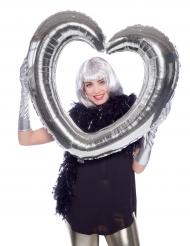 Zilverkleurig hart aluminium ballon