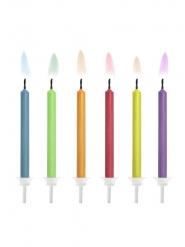 6 verjaardagskaarsjes met gekleurde vlam