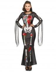 Dia de los Muertos skelet jurk met rozen voor vrouwen