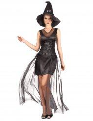 Chique zwart heksen kostuum voor dames