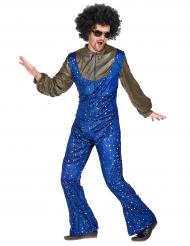 Blauw met goud disco pak voor mannen