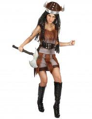 Grijs viking kostuum met bruin nep vacht voor dames