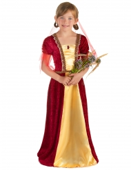 Rood middeleeuws gravin kostuum voor meisjes