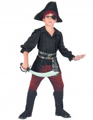 Zwart en rood piraat kostuum voor jongens