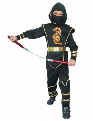 Zwart met goud ninja pak voor jongens