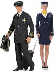Piloot en stewardess koppelkostuum voor volwassenen