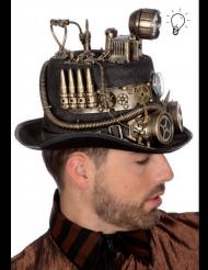 Luxe Steampunk hoed met lamp voor volwassenen