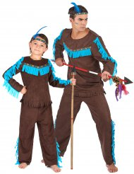 Bruin indianen koppelkostuum voor vader en zoon