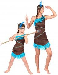 Bruin indiaan koppelkostuum voor moeder en dochter