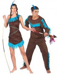 Bruin en blauw indiaan koppelkostuum voor volwassenen