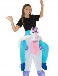 Op de rug van eenhoorn kostuum voor kinderen