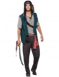 Paars en bruin gestreept piraten kostuum voor mannen