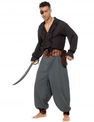 Grijze piraten broek voor volwassenen
