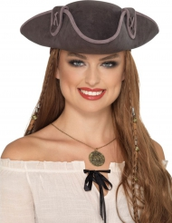 Grijze tricorn piraten hoed voor volwassenen