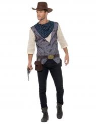 Grijs cowboy kostuum met sjaal voor heren