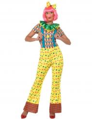 Kleurrijk stippen clown kostuum voor vrouwen