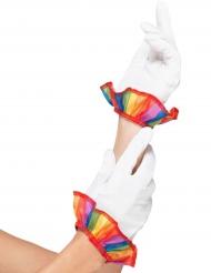 Korte clown handschoenen voor volwassenen