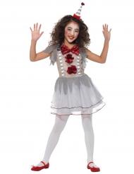 Grijs en rood vintage clown kostuum voor meisjes