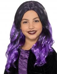 Lange zwarte en paarse pruik voor kinderen