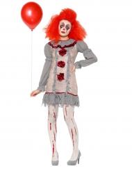 Vintage creepy clown kostuum voor vrouwen