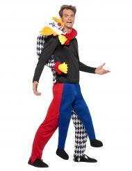 Clown in de rug kostuum voor mannen