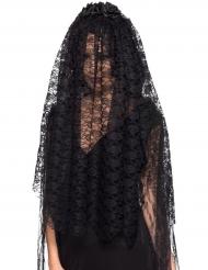 Lange zwarte weduwe sluier voor volwassenen