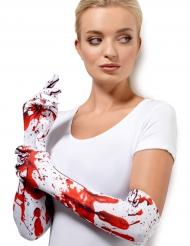 Witte handschoenen met bloedvlekken voor volwassenen