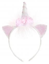 Eenhoorn haarband met witte en roze bloemen voor meisjes
