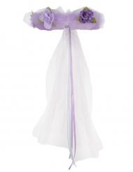 Paarse prinses bloemenkrans voor meisjes